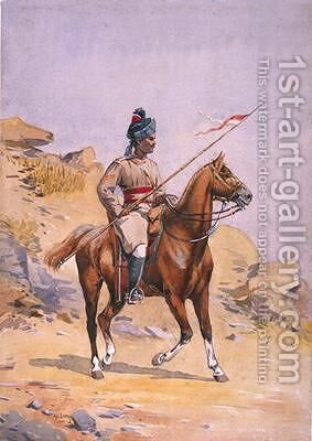 Soldier of the 38th Prince of Waless Own Central India Gorse Lance Dafadar Gakbar by Alfred Crowdy Lovett - Reproduction Oil Painting