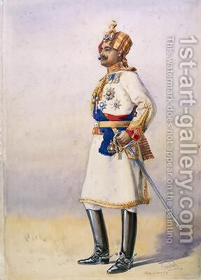 Hon Colonel HH Maharaja Sir Ganja Singh Bahadur of Bikaner by Alfred Crowdy Lovett - Reproduction Oil Painting