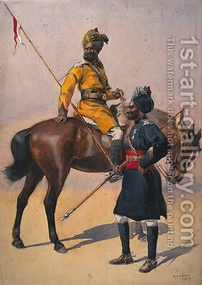Soldiers of the 1st Duke of Yorks Own Lancers Skinners Horse Hindustani Musalman and 3rd Skinners Horse Musalman Rajput by Alfred Crowdy Lovett - Reproduction Oil Painting