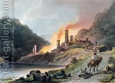 Iron Works Coalbrookdale by (after) Loutherbourg, Philippe de - Reproduction Oil Painting