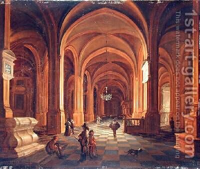Church Interior 1641 by Anthonie De Lorme - Reproduction Oil Painting