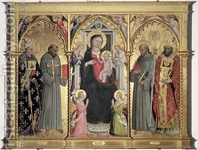 Madonna and Child with St Louis of Toulouse St Francis of Assisi St Anthony of Padua and St Nicholas of Bari by Bicci Di Lorenzo - Reproduction Oil Painting