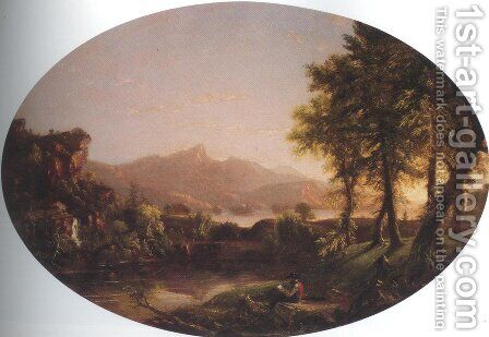 View Of Lake George 1850 60 by Andrew Andrews - Reproduction Oil Painting