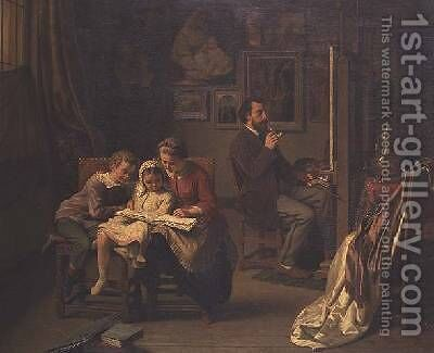 The artist with his children in his studio by Basile De Loose - Reproduction Oil Painting