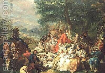 La Chasse by Charles-Amedee-Philippe van Loo - Reproduction Oil Painting
