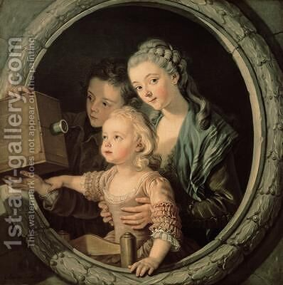 The Magic Lantern 1764 by Charles-Amedee-Philippe van Loo - Reproduction Oil Painting