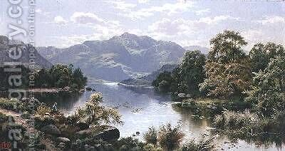 A Lake Scene in North Wales by Edgar Longstaffe - Reproduction Oil Painting
