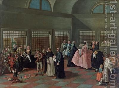 The Visiting Parlour in the Convent by (after) Longhi, Pietro - Reproduction Oil Painting