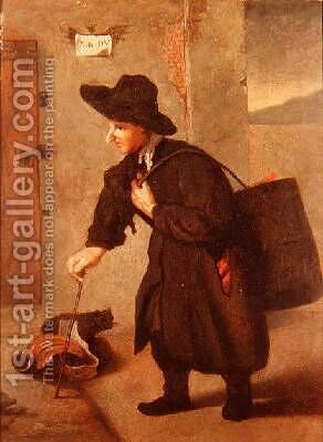 A pedlar carrying a brazier by a townhouse landscape beyond by (after) Longhi, Pietro - Reproduction Oil Painting