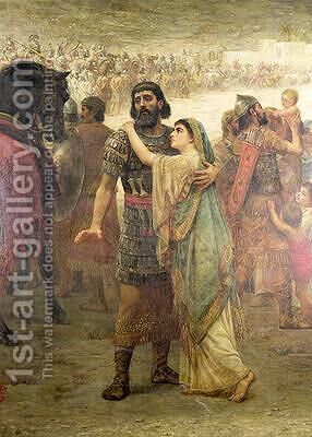 Jephthahs Vow his return from defeating the Ammonites to greet his daughter 1886 by Edwin Longsden Long - Reproduction Oil Painting