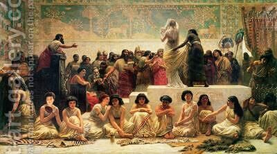 The Babylonian Marriage Market 1875 by Edwin Longsden Long - Reproduction Oil Painting