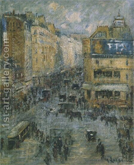 The 14th July in Paris Rue de Clignancourt 1925 by Gustave Loiseau - Reproduction Oil Painting