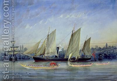 Vessels Moored in the Bosphorus by Capt. Charles A. Lodder - Reproduction Oil Painting