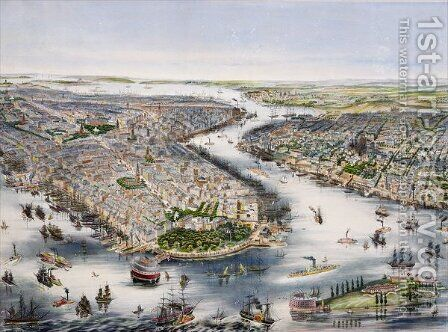 Birds-eye view of New York and Brooklyn by (after) Lochner, J.H. - Reproduction Oil Painting