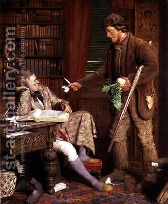 The Squire and the Gamekeeper or The Demurrer by (attr. to) Lobley, James - Reproduction Oil Painting
