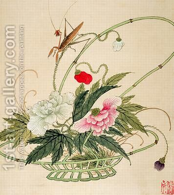 One of a series of paintings of flowers and insects by Hua Liu - Reproduction Oil Painting