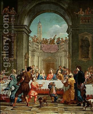 The Marriage at Cana 1723 by Bartolomeo Litterini - Reproduction Oil Painting