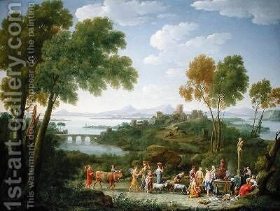 An Extensive Italianate Landscape with a Sacrifice 1728 by Hendrik Frans Van Lint - Reproduction Oil Painting
