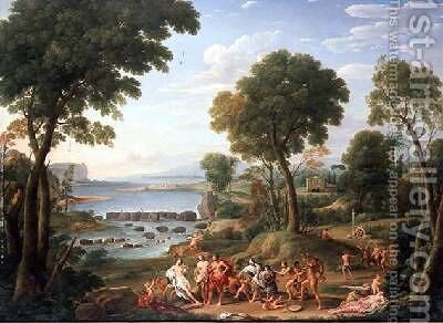 Classical scene with elephants by Hendrik Frans Van Lint - Reproduction Oil Painting