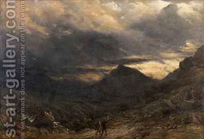 View of Snowdon by James Thomas Linnell - Reproduction Oil Painting
