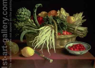 Still life of Fruit and Vegetables by J. Linnard - Reproduction Oil Painting