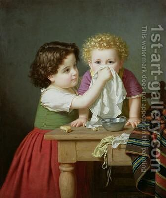 Motherly Instinct 1872 by Amalia Lindegren - Reproduction Oil Painting