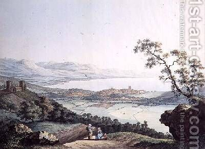 View of Geneva from Saconex in Savoy by (after) Linck, Jean Philippe II - Reproduction Oil Painting