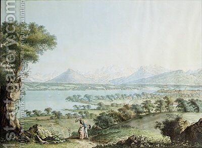 View of Mont Blanc with Geneva in the foreground by (after) Linck, Jean Philippe II - Reproduction Oil Painting