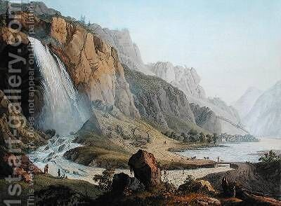 View of the Cascade de Pissevache 1789 by Jean Antoine Linck - Reproduction Oil Painting