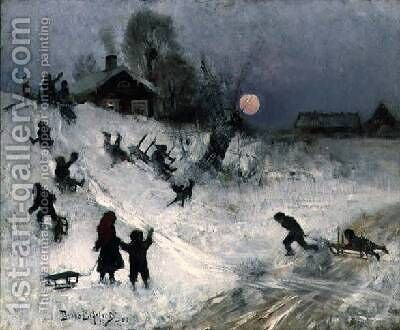 Sledging 1882 by Bruno Andreas Liljefors - Reproduction Oil Painting