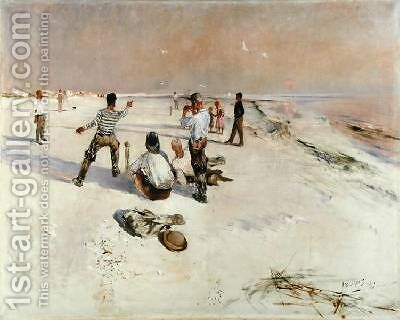 Men Warping by Bruno Andreas Liljefors - Reproduction Oil Painting