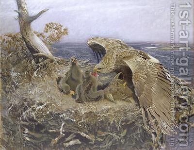 Sea Eagles Nest 1907 by Bruno Andreas Liljefors - Reproduction Oil Painting