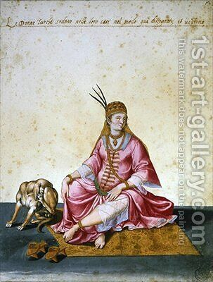 Turkish woman by Jacopo Ligozzi - Reproduction Oil Painting