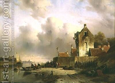 An estuary with fisherfolk by a quay by Charles Henri Joseph Lieckert - Reproduction Oil Painting