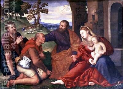 The Adoration of the Shepherds by Bernardino Licinio - Reproduction Oil Painting
