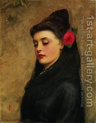 A Spanish Girl by Charles Sillem Lidderdale - Reproduction Oil Painting
