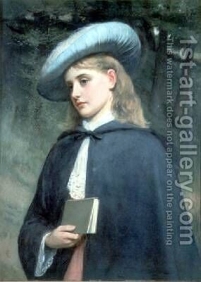 Girl Holding a Book by Charles Sillem Lidderdale - Reproduction Oil Painting