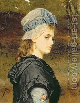 A Girls Head 1875 by Charles Sillem Lidderdale - Reproduction Oil Painting