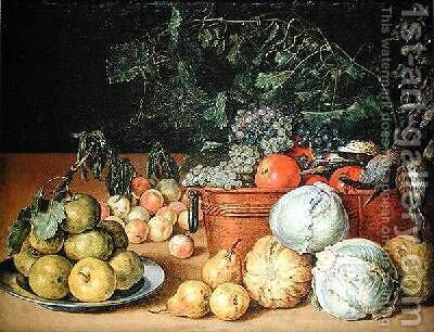Still Life with Fruit 1642 by Gottfried Libalt - Reproduction Oil Painting