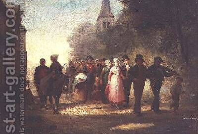 The Village Marriage 1872 by Charles Marie Lhuillier - Reproduction Oil Painting