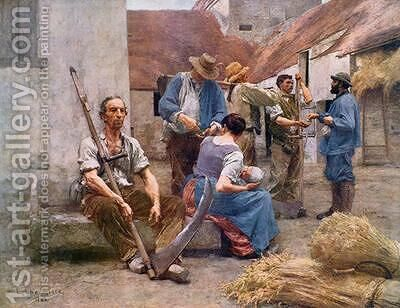 The Harvesters Pay after the original of 1882 by (after) Lhermitte, Leon - Reproduction Oil Painting