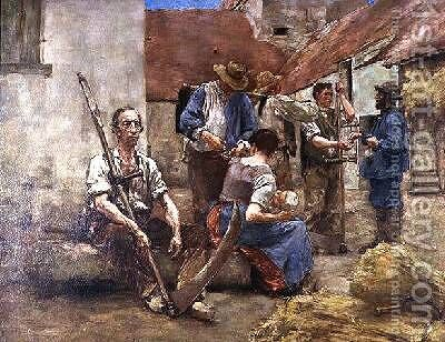 Paying the Harvesters by (after) Lhermitte, Leon - Reproduction Oil Painting