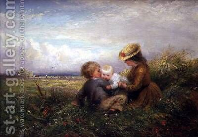 Children in a Field 1875 by Charles James Lewis - Reproduction Oil Painting