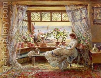 Reading by the Window Hastings by Charles James Lewis - Reproduction Oil Painting