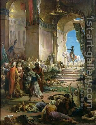 Napoleon Bonaparte 1769-1821 in the Grand Mosque at Cairo 2 by Henri Leopold Levy - Reproduction Oil Painting
