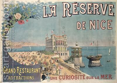 Poster advertising La Reserve restaurant Nice by E. Levy - Reproduction Oil Painting