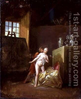 An artist and his model in a studio by (attr. to) Levreince, Nicolas - Reproduction Oil Painting