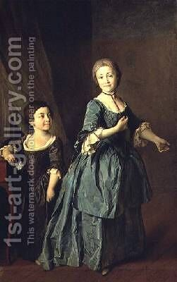 Portrait of Feodosia Rzhevskaya 1760-95 and Nastasia Davydova by Dmitry Levitsky - Reproduction Oil Painting