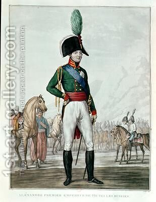 Portrait of Alexander I Pavlovich 1777-1825 with his Army by Charles Francois Gabriel Levachez - Reproduction Oil Painting