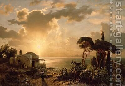 Aegean Landscape at Sunset by August Wilhelm Leu - Reproduction Oil Painting